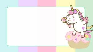 Unicórnio Candy Color Etiqueta Escolar para Imprimir