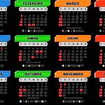 Base Calendário 2020 Azul Verde Laranja Vermelho