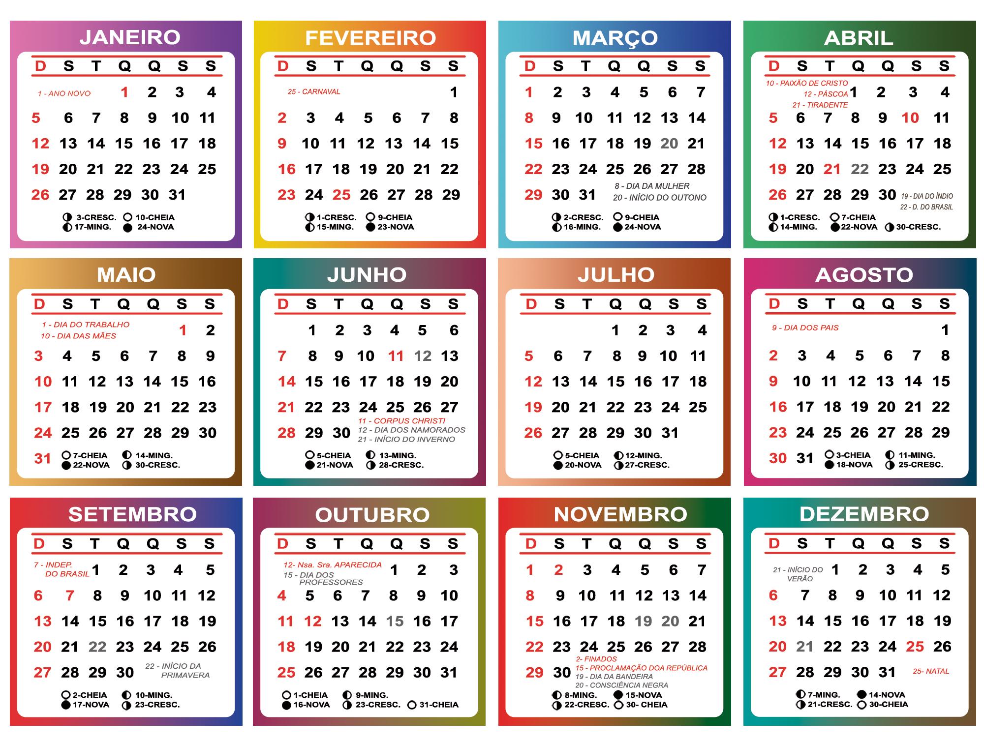 Base Calendário 2020 Color