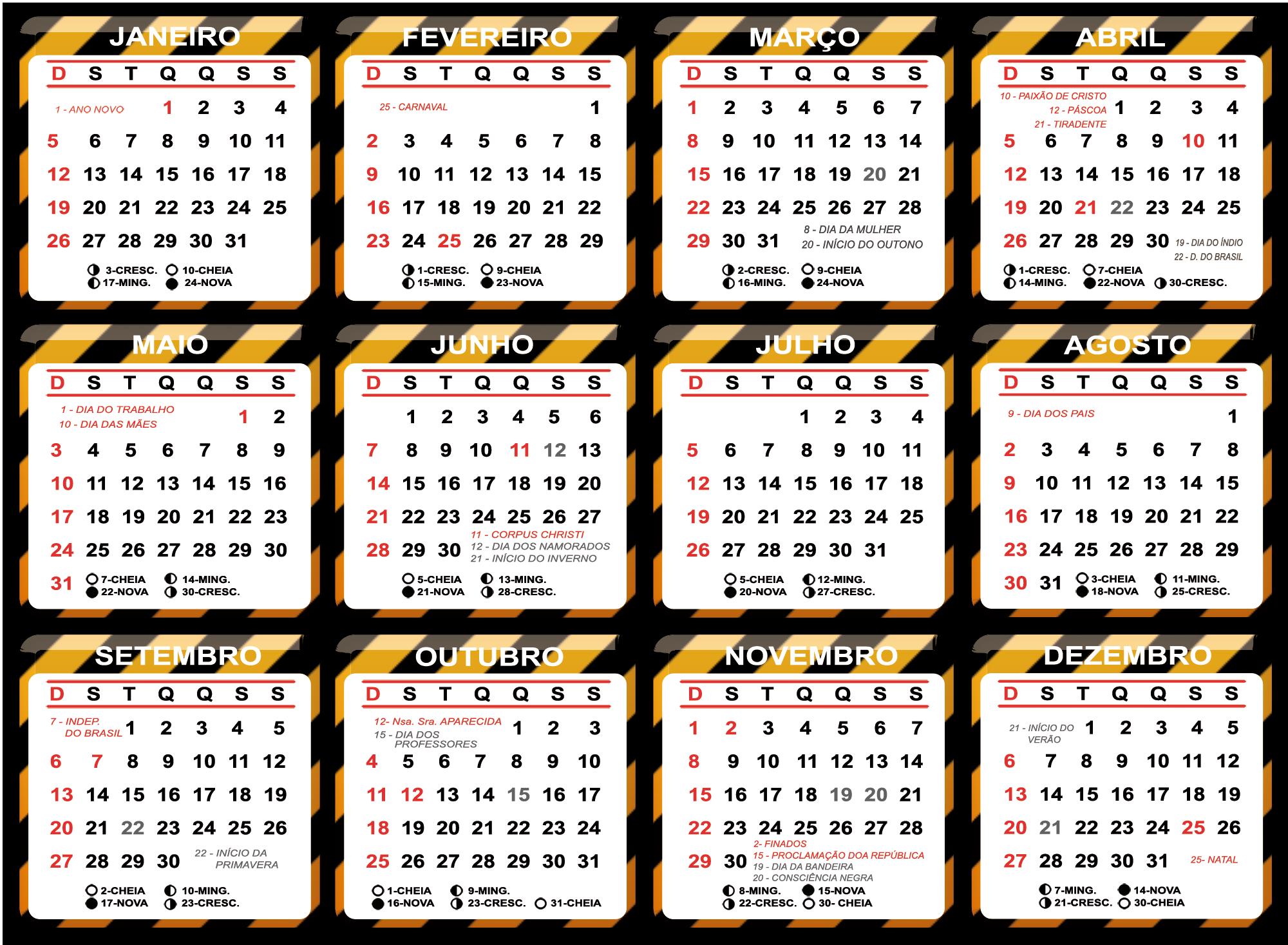 Base Calendário 2020 Faixa de Interditado