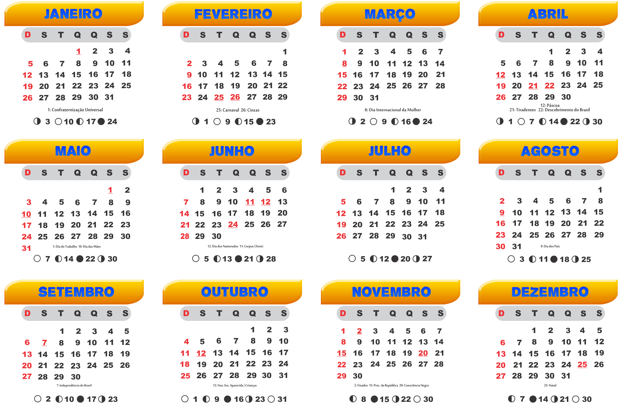 Base Calendário 2020 Laranja e Azul