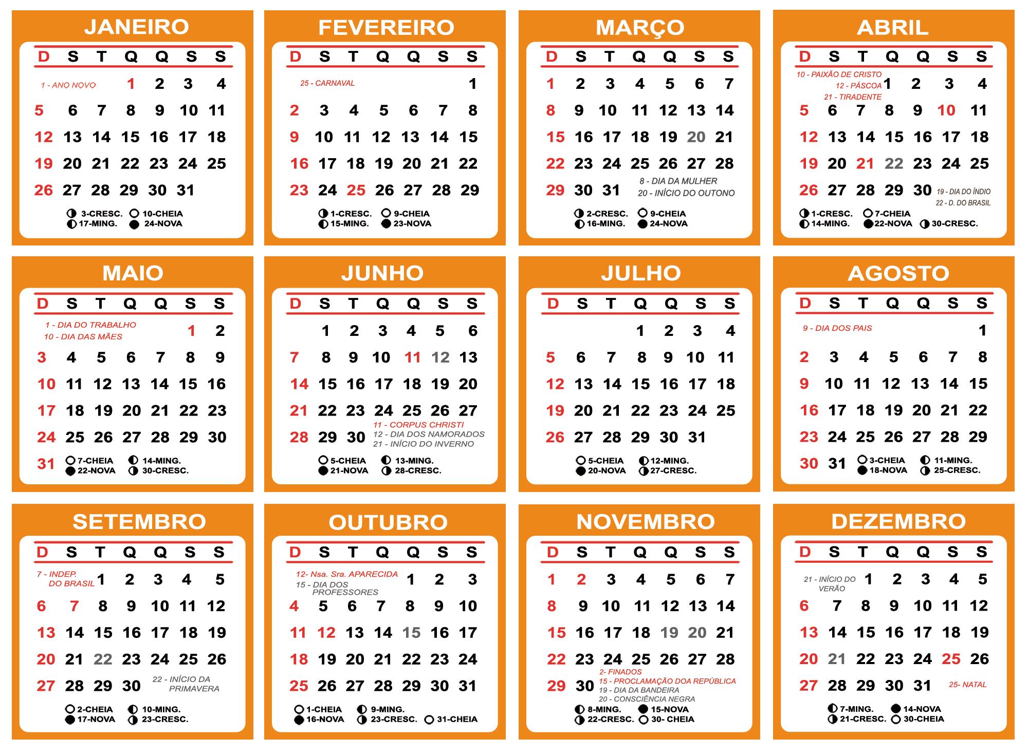 Base Calendário 2020 Laranja
