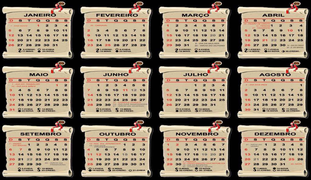 Base Calendário 2020 Pergaminho