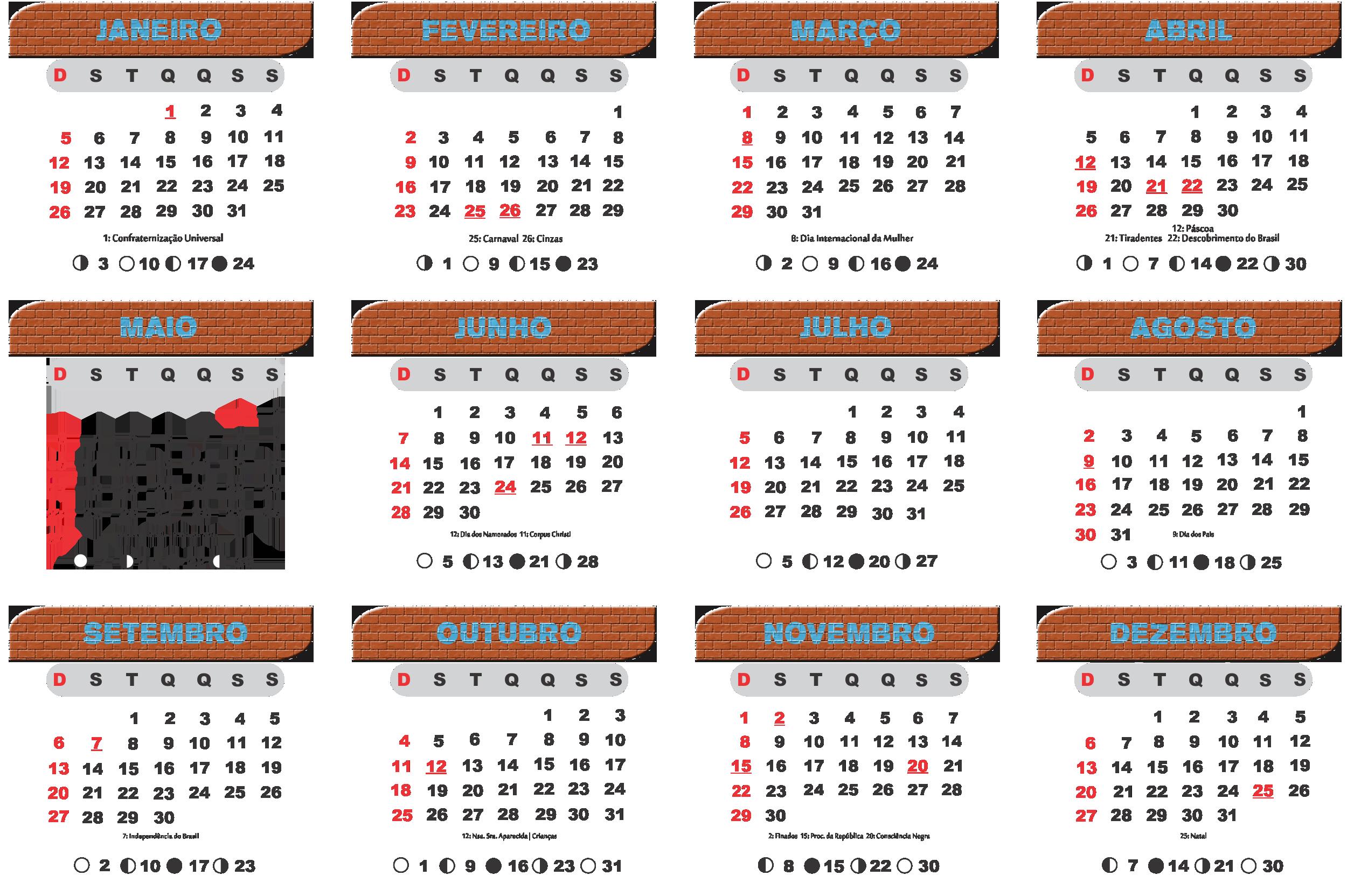 Base Calendário 2020 Tijolinho