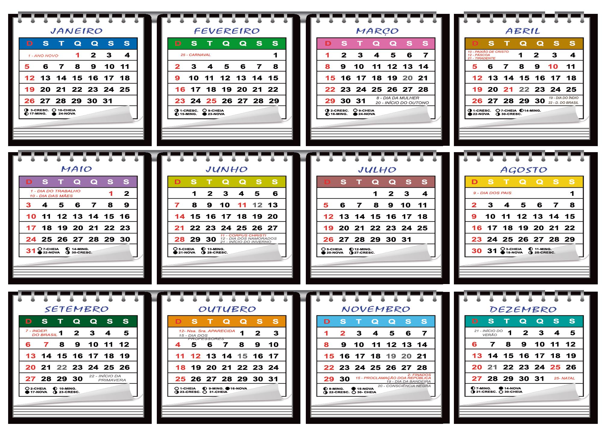Base Calendário 2020 para Folhinha