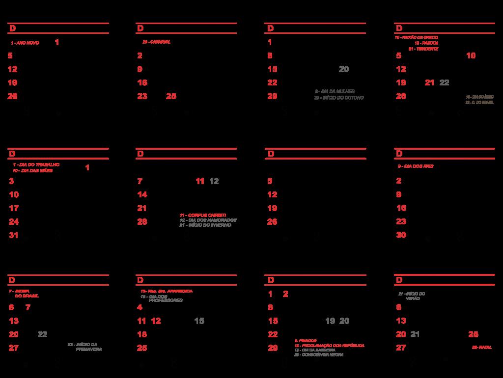 Calendario 2020 Portugues Com Feriados.Grade Calendario 2020 Varios Modelos Para Baixar Png Psd