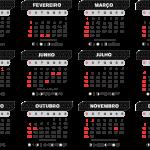 Gabarito Calendário 2020 Preto com Efeitos