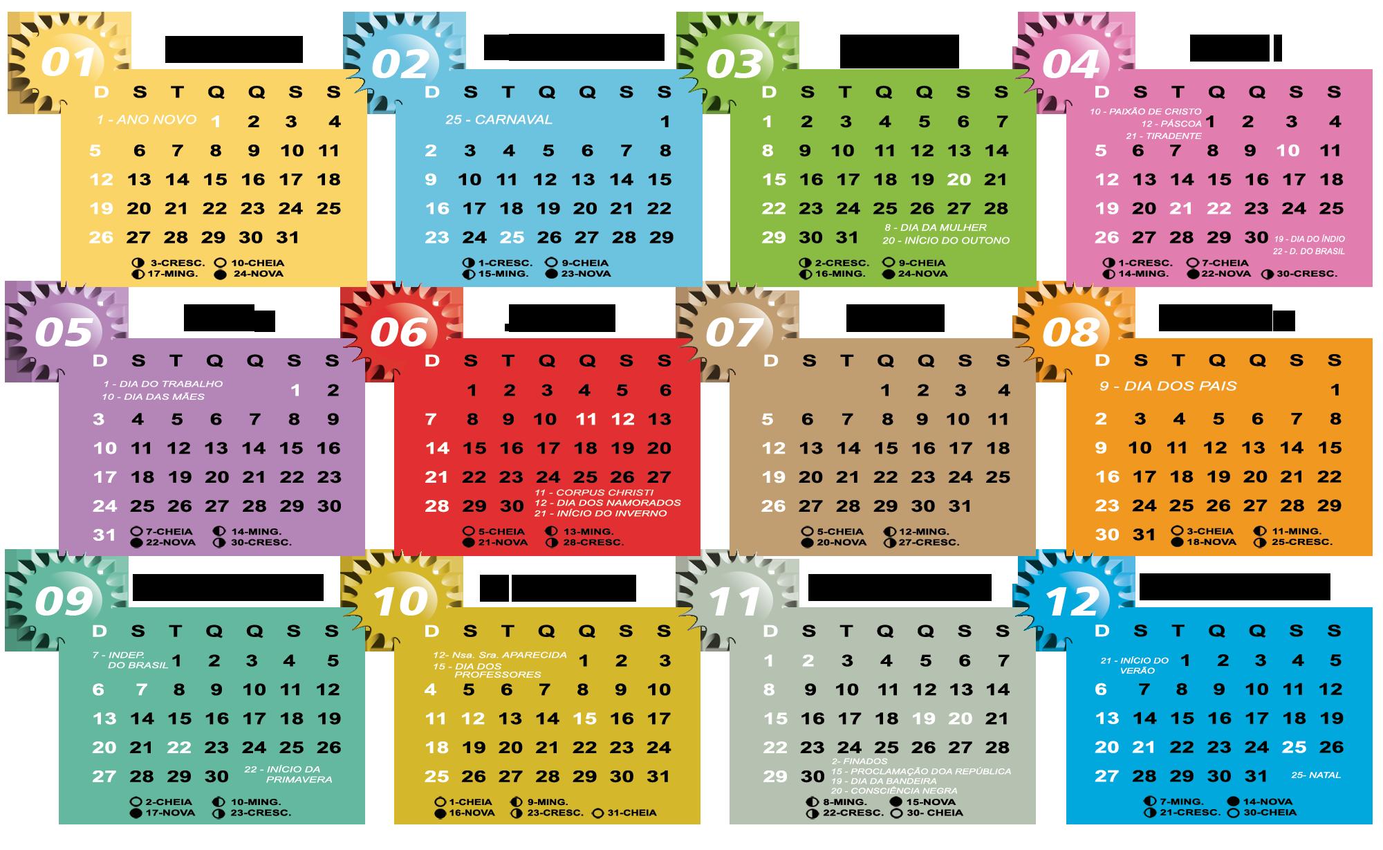 Gabarito Calendário 2020 Tema Infantil