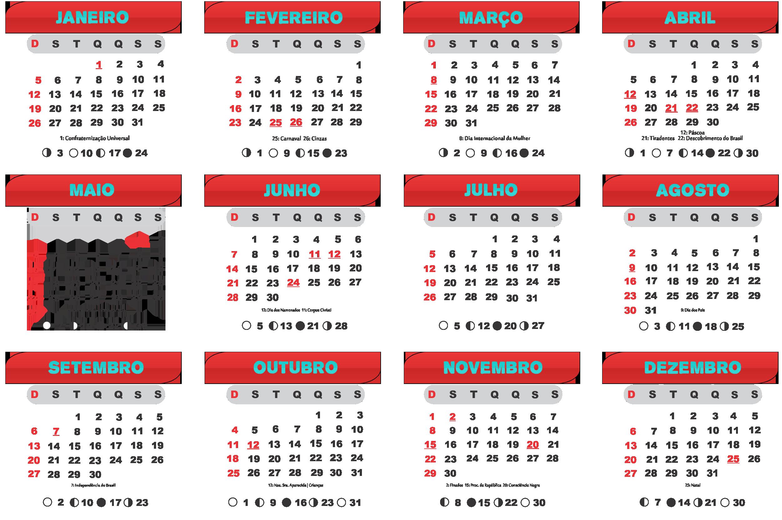 Gabarito Calendário 2020 Vermelho e Azul Esverdeado
