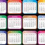 Grade Calendário 2019 Colorido