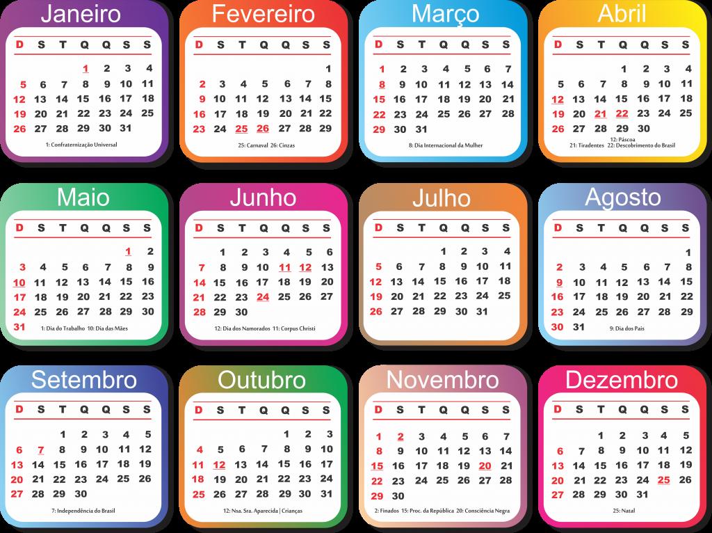 Grade Calendário 2020 Vários Modelos Para Baixar Png Psd