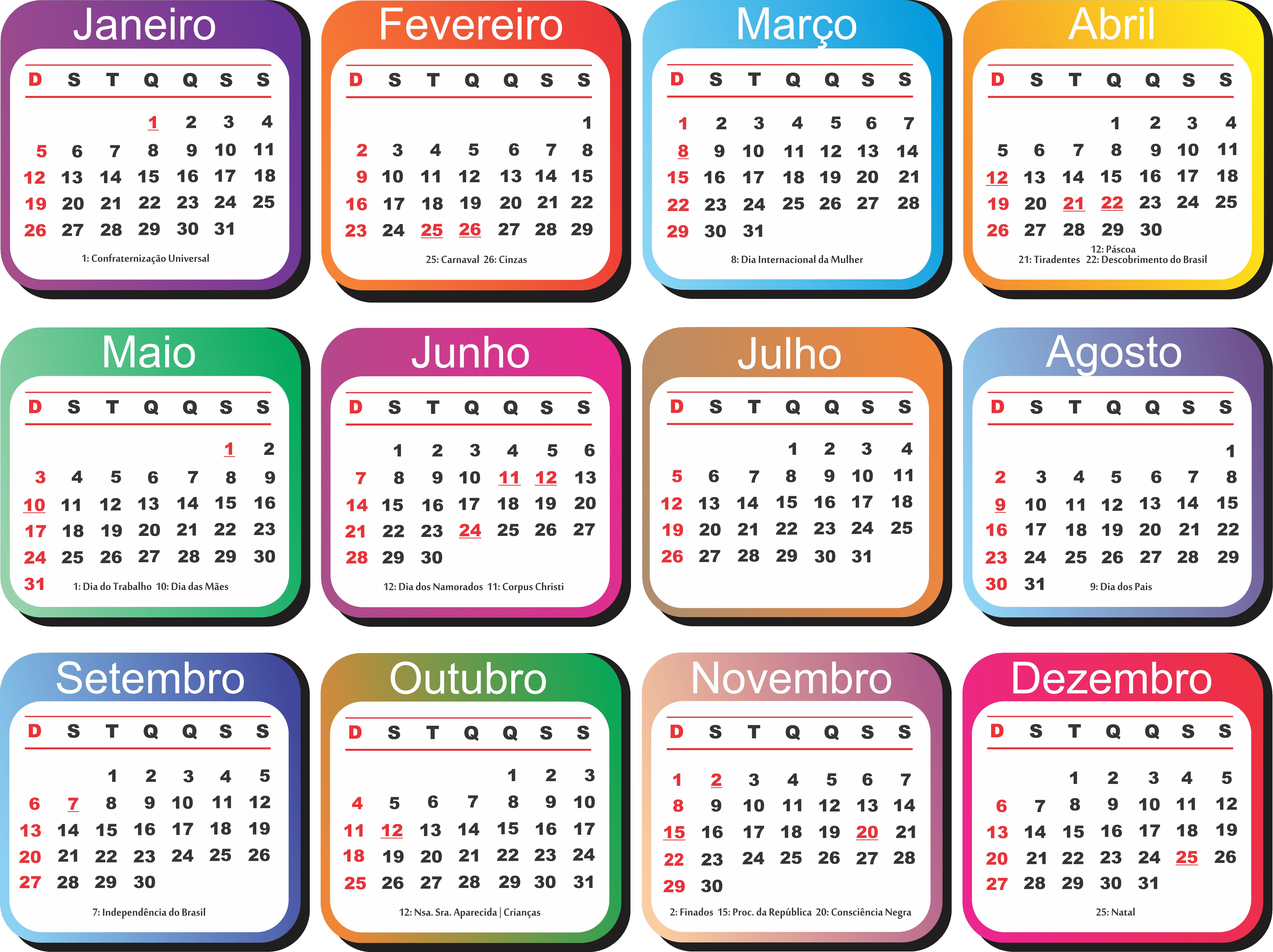 Calendario 2020 Com Feriados.Grade Calendario 2020 Colorido Imagem Legal