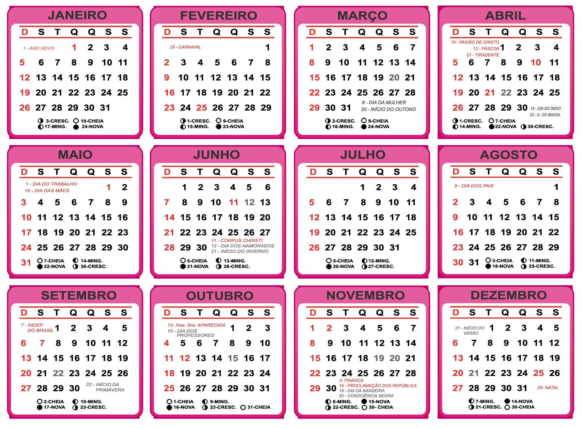 Grade Calendário 2020 Cor de Rosa