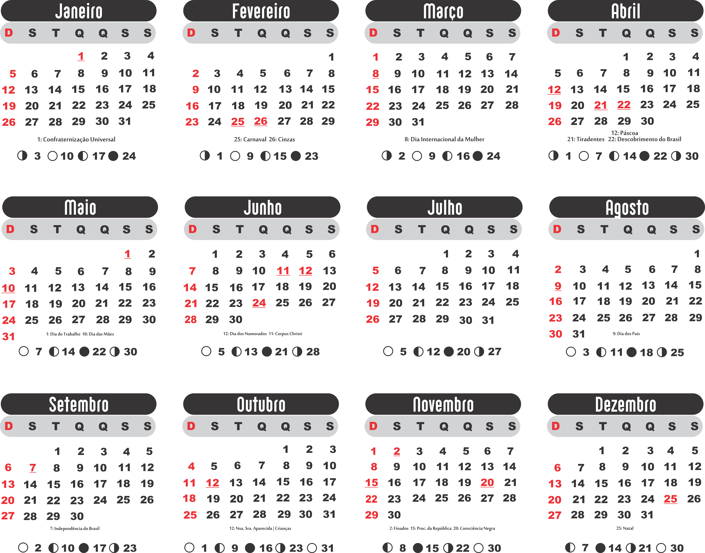 Calendario De 2020 Brasil.Grade Calendario 2020 Simples Imagem Legal