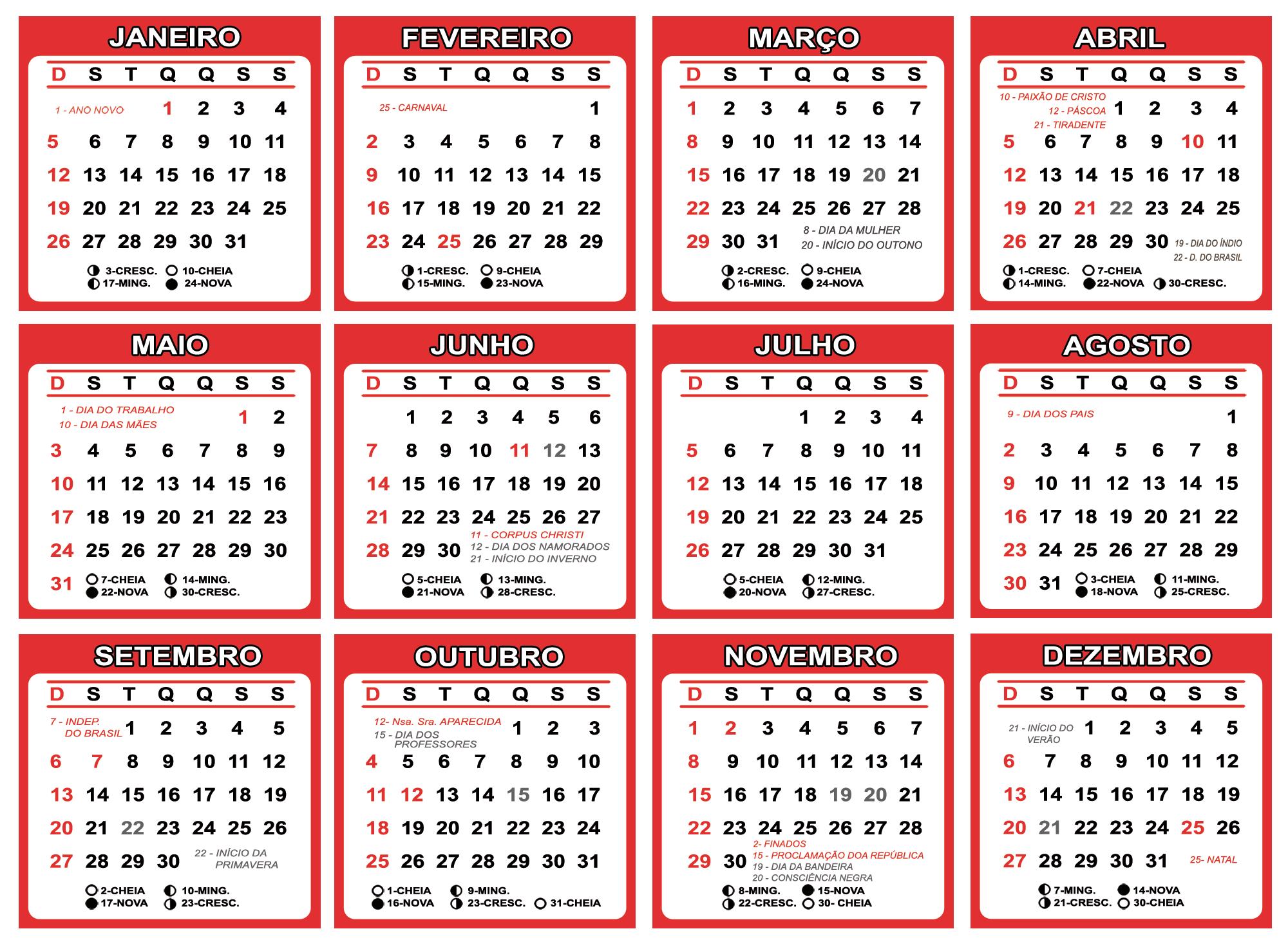 Grade Calendário 2020 Vermelho