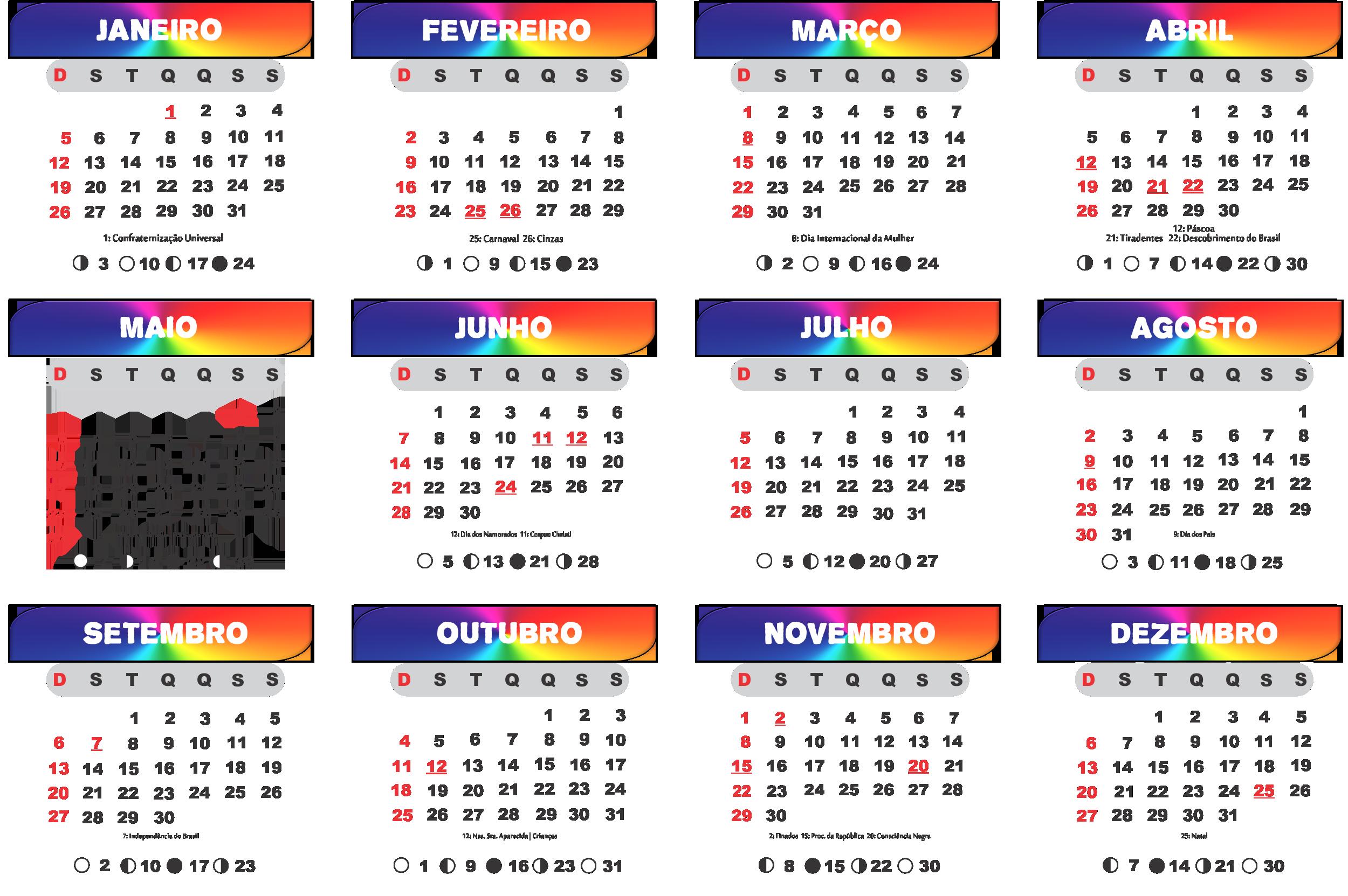 Grade Calendário 2020 da Cores de Arcor Íris