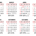 Grade Vertical Calendário 2020 Simples