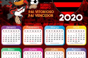 Calendário 2020 do Flamengo PNG