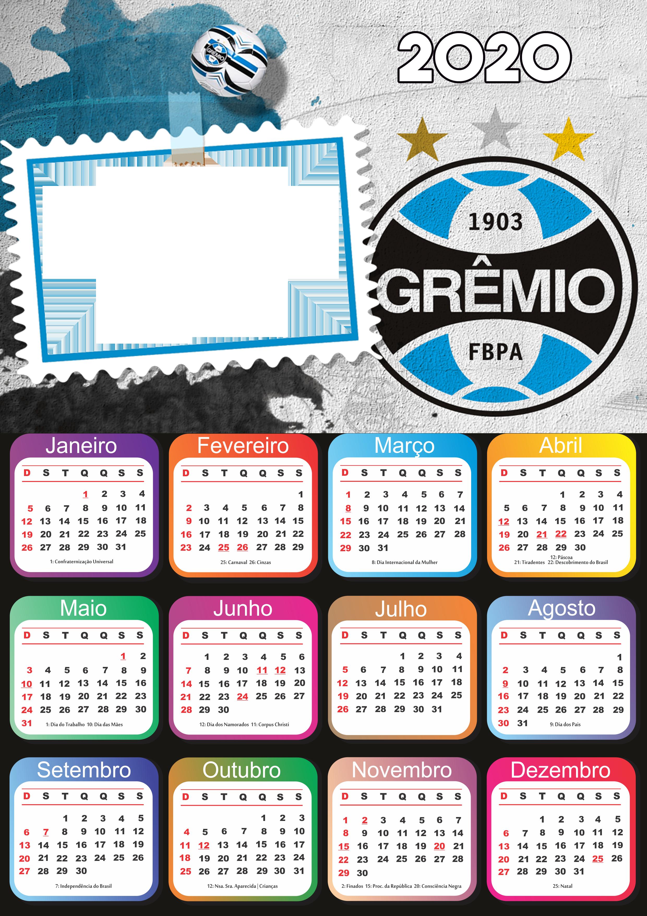 Calendário 2020 do Grêmio PNG