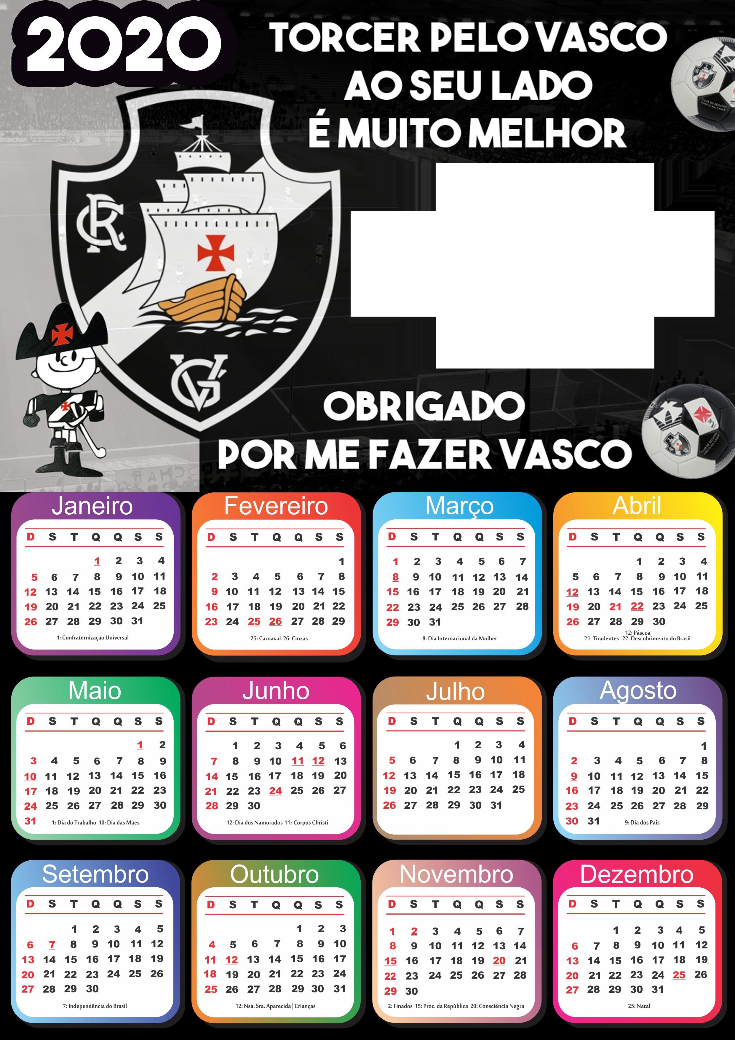 Moldura Calendario 2020 Vasco Da Gama Imagem Legal