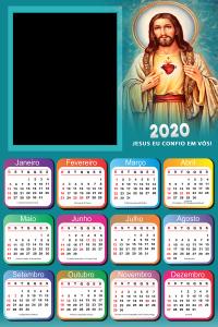 Moldura PNG Calendário 2020 Jesus Eu confio em Vós