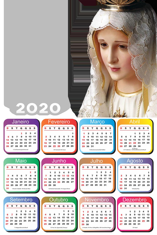 Moldura PNG Calendário 2020 Nossa Senhora de Fátima