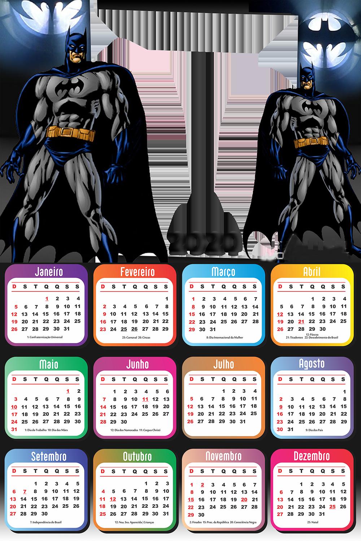Calendario 2020 Batman Desenho Moldura Imagem Legal