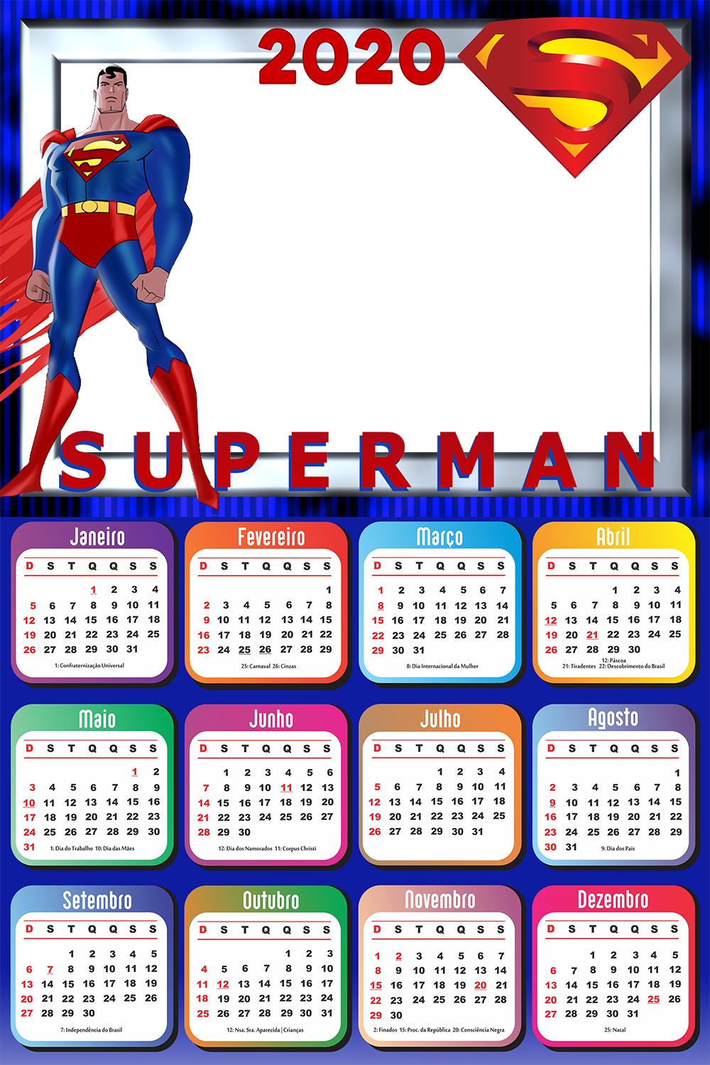Calendario 2020 Imprimir Gratis Superman Imagem Legal