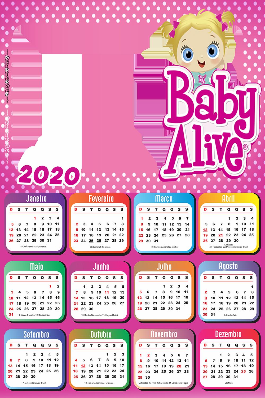 Calendario 2020 Da Boneca Baby Alive Imagem Legal