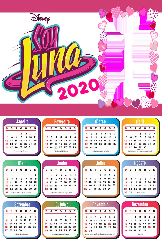 Calendario 2020 Para Imprimir Sou Luna Imagem Legal