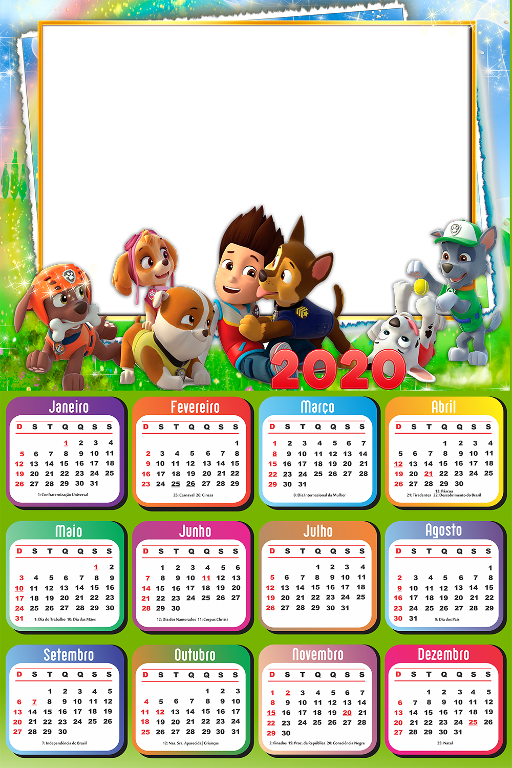 Moldura Png Calendário 2020 Personagens Patrulha Canina