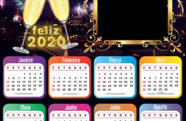 Molduras de Calendário 2020 de Feliz Ano Novo em PNG