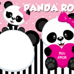 Moldura Panda Rosa PNG