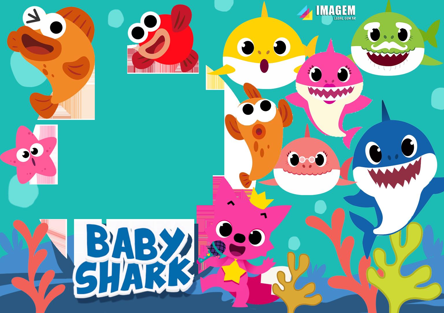 Baby Shark Personagens Moldura PNG   Imagem Legal