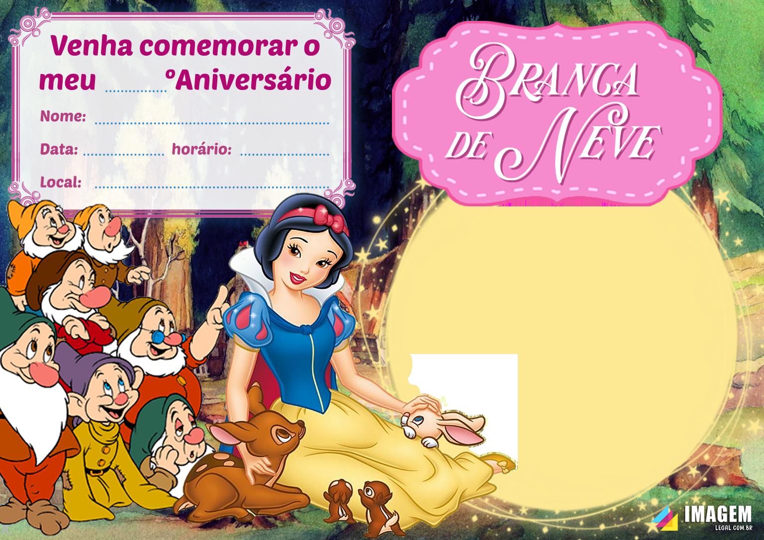 Convite De Aniversario Da Branca De Neve Imagem Legal