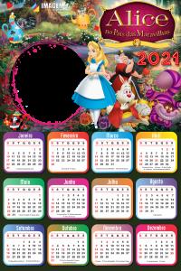 Moldura Infantil Calendário 2021 Alice no País das Maravilhas