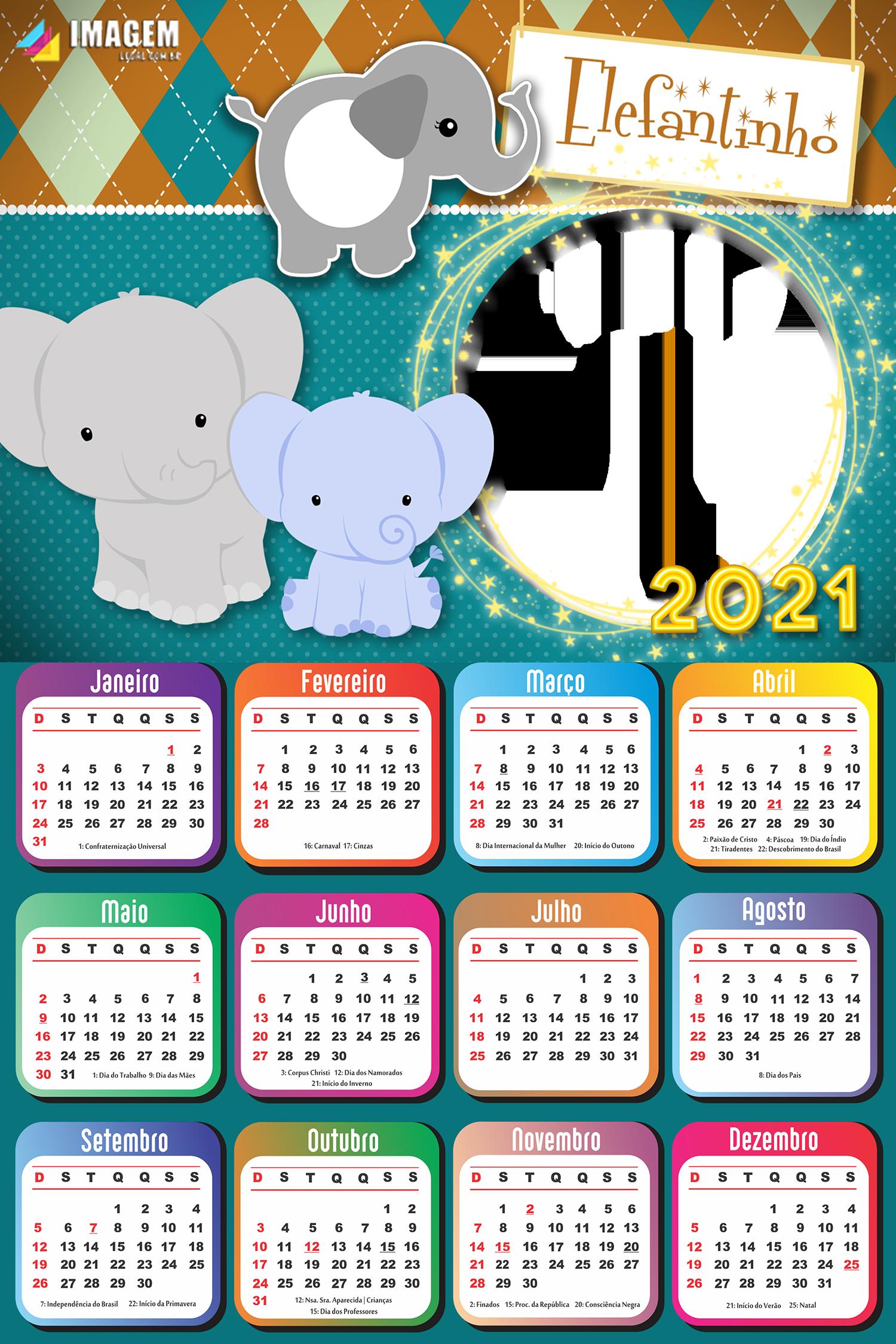 Montar Calendário 2021 Elefantinho