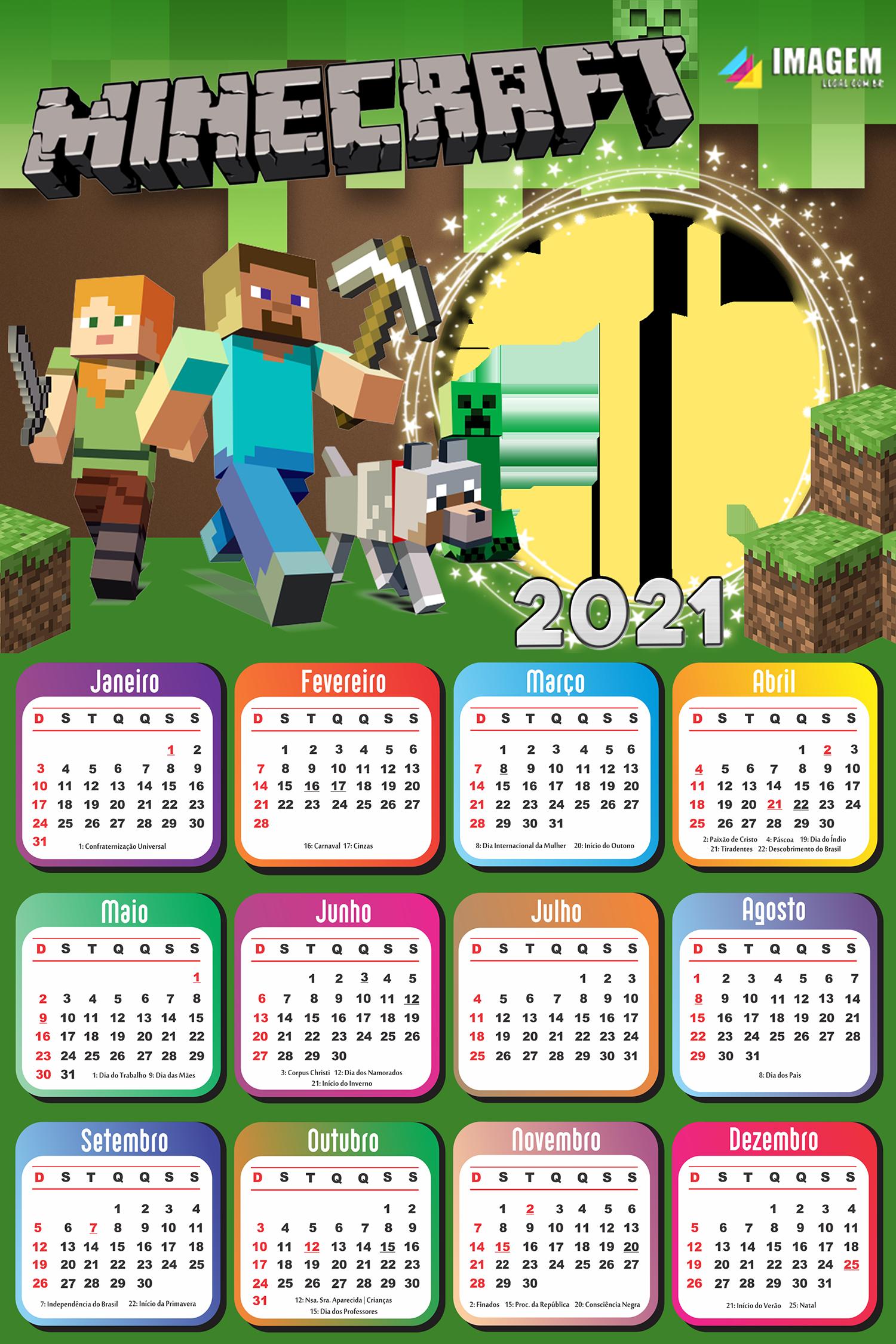 Calendário 2021 Minecraft Colagem de Foto