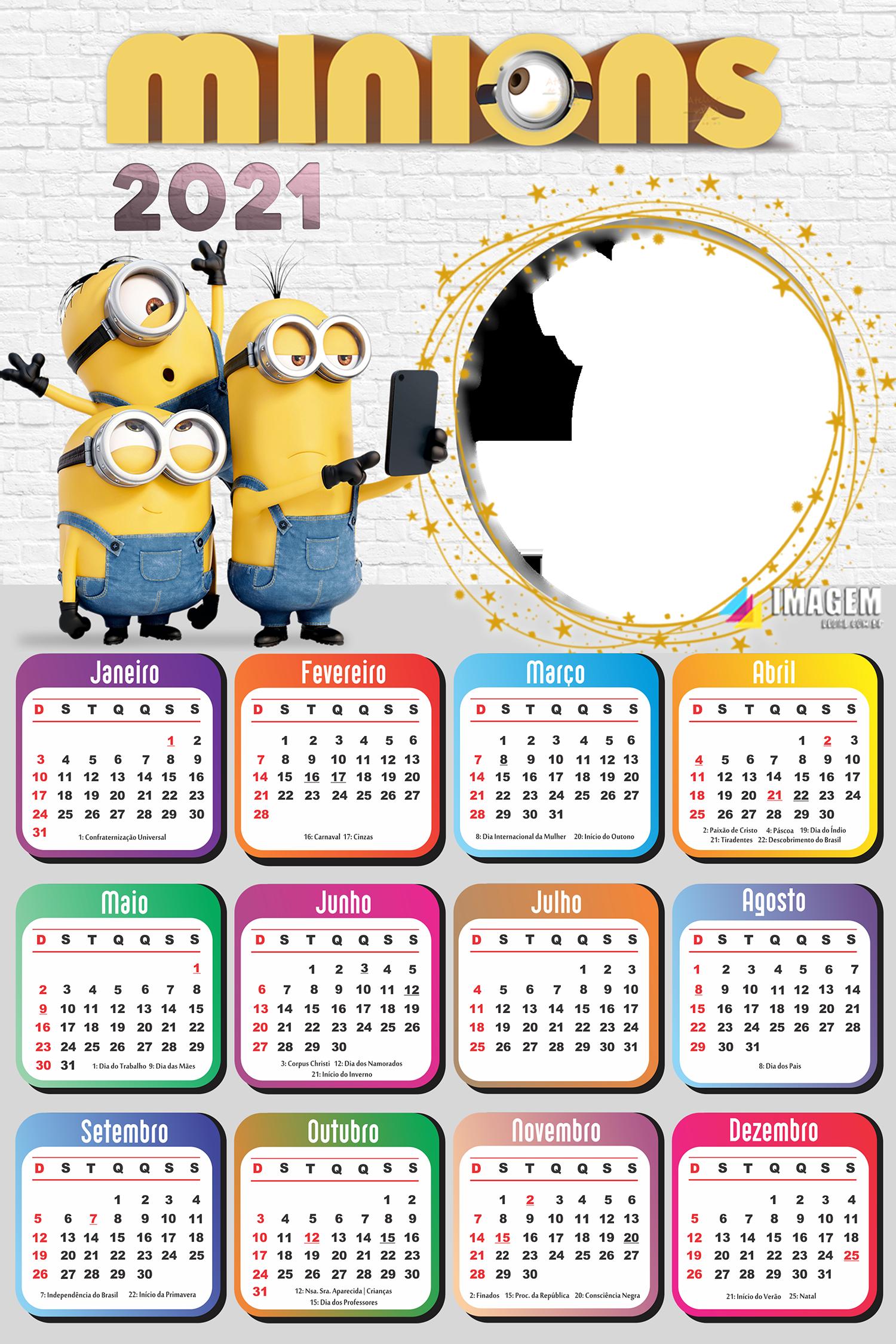 Calendário 2021 Minions para Foto Montagem
