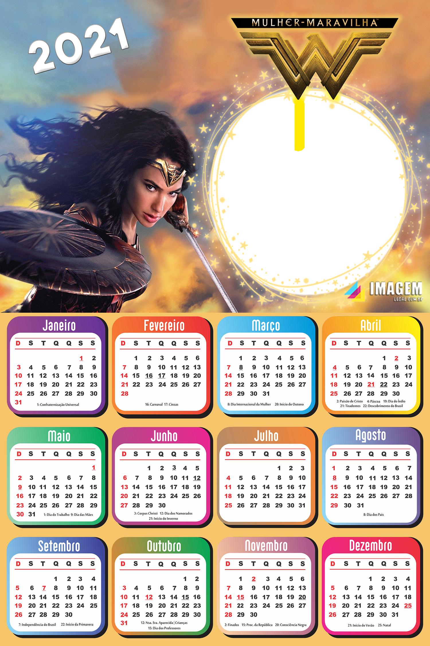Calendário 2021 Mulher Maravilha Moldura para Foto
