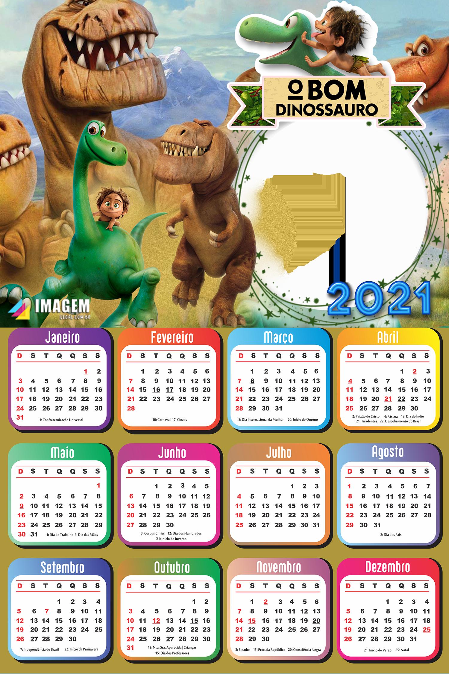 Calendário 2021 O Bom Dinossauro para Foto Colagem