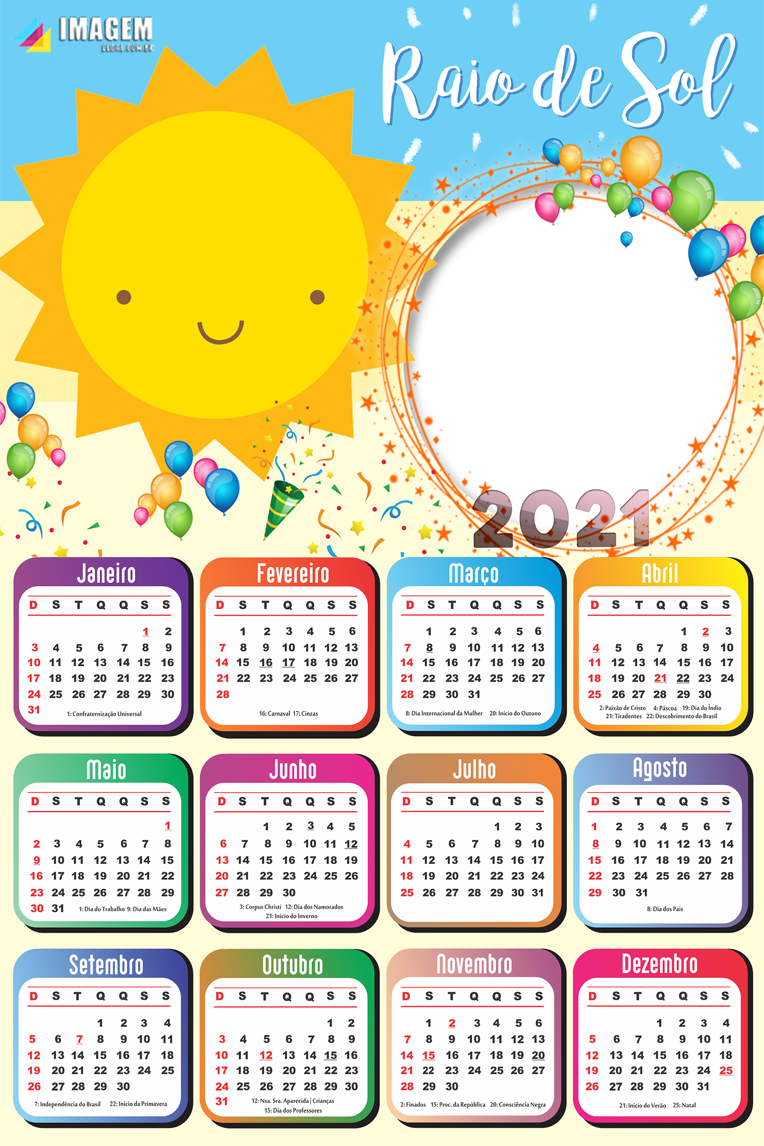 Moldura para Foto Calendário 2021 Raio de Sol