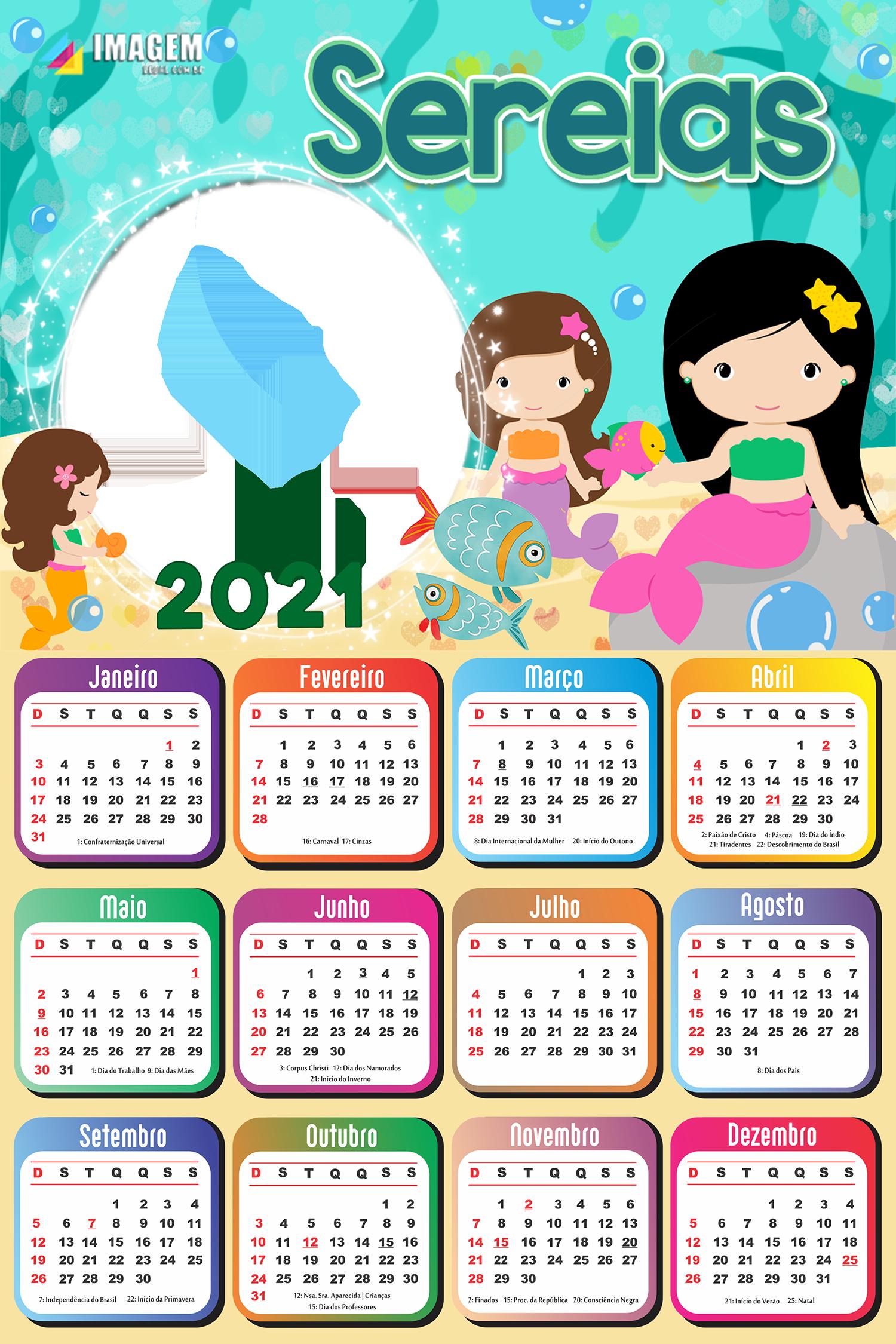Calendário 2021 Sereias