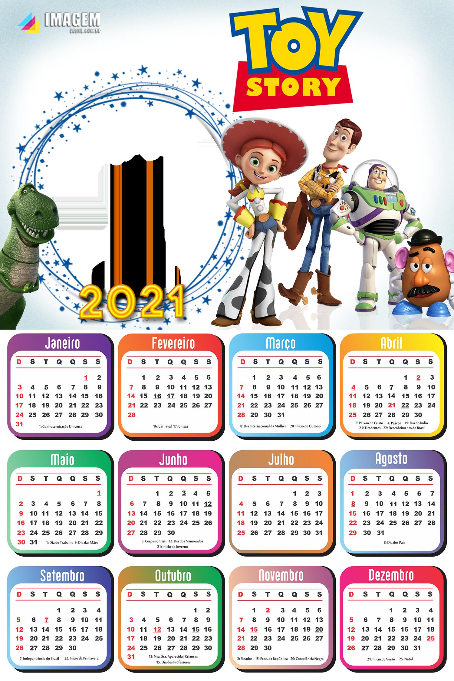 Foto Montagem Grátis Calendário 2021 Toy Story
