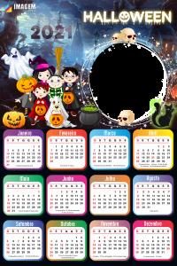 Máscara Digital Calendário 2021 de Halloween
