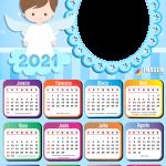 Calendário 2021 Batizado para Meninos Colagem de Foto