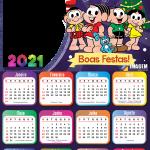 Calendário 2021 Boas Festas Turma da Mônica PNG