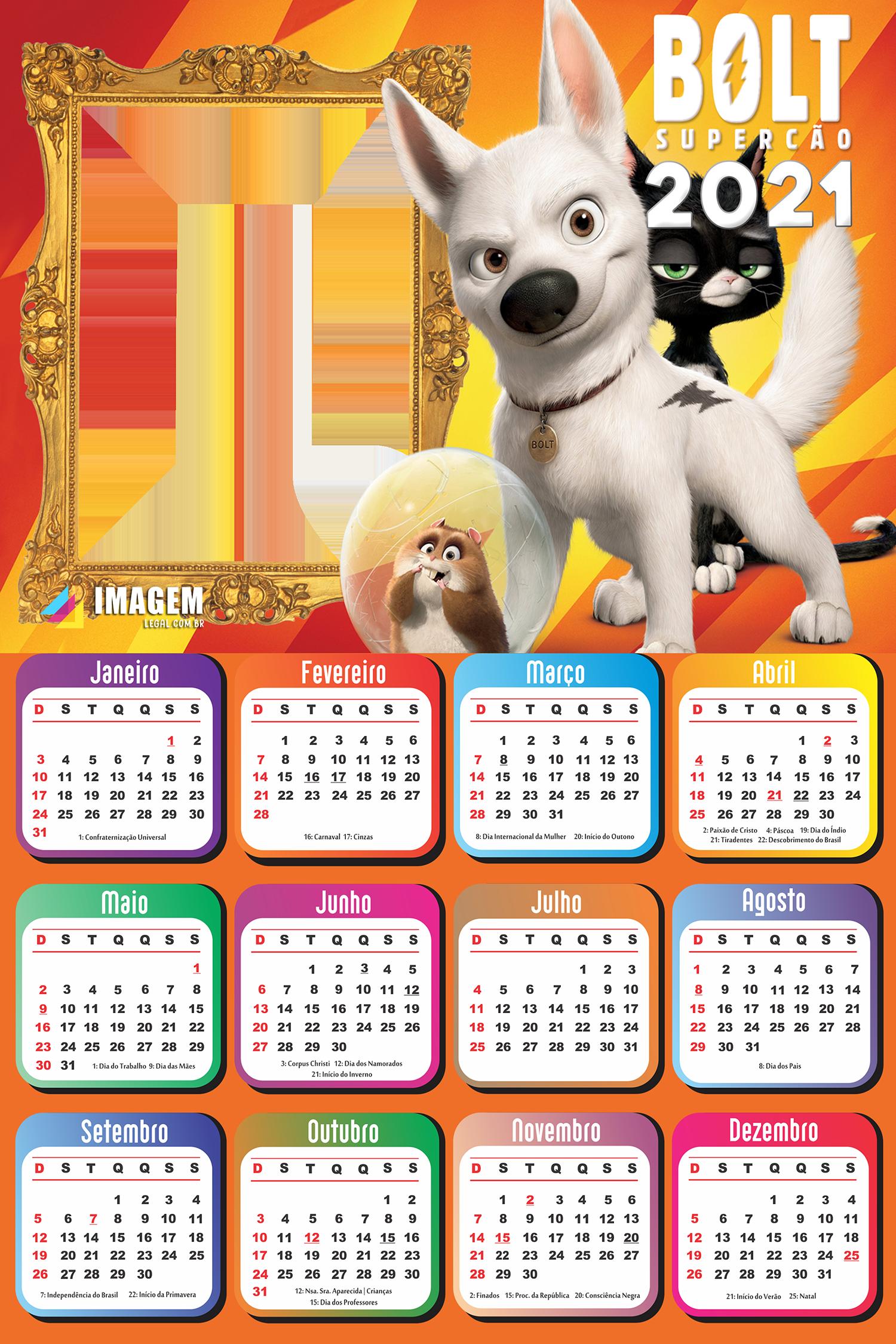 Calendário 2021 Bolt Super Cão Foto Montagem