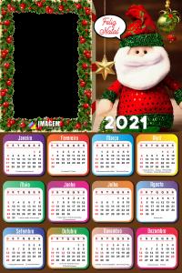 Calendário 2021 Boneco de Papai Noel Moldura