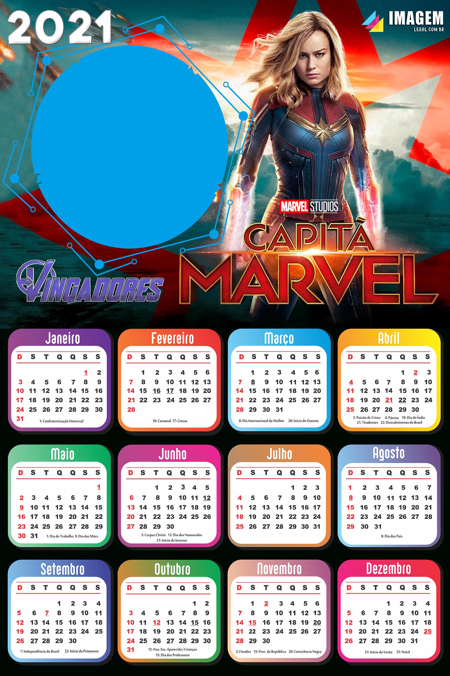 Calendário 2021 Capitã Marvel Vingadores